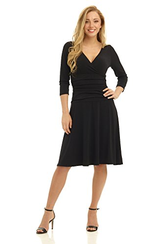 Rekucci Women's Slimming 3/4 Sleeve Fit-and-Flare Crossover Tummy Control Dress (10,Black)