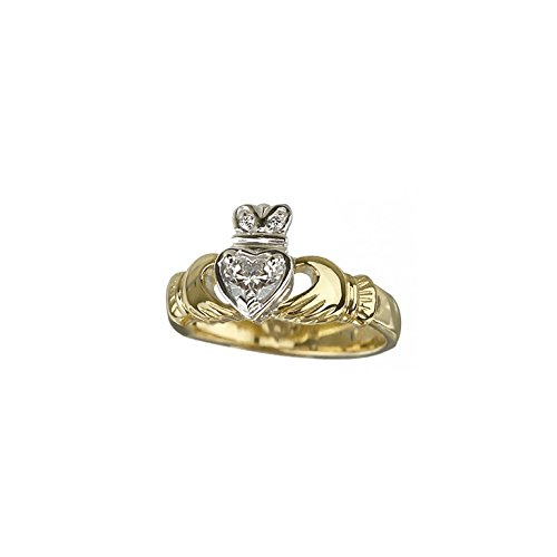 Claddagh Engagement Ring 18K Gold & Diamond Heart Sz 9