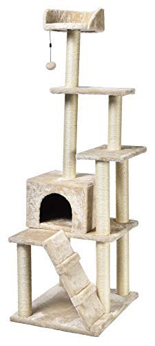 AmazonBasics Large Cat Tree With Multiple Towers - 24 x 61 x 19 Inches, Beige (Best Cat Trees For Multiple Cats)