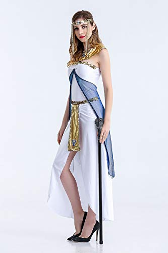 JCH Halloween Costume Greek Goddess Egyptian Queen Arabian Girl White Dress for Women (Size : L)]()
