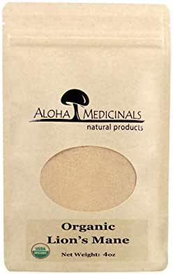 Aloha Medicinals – Pure Lion's Mane - Certified Organic Mushrooms – Hericium Erinaceus – Health Supplement – Supports Mental Health, Nerve Growth, Immune System – 4oz Bag (Powder)