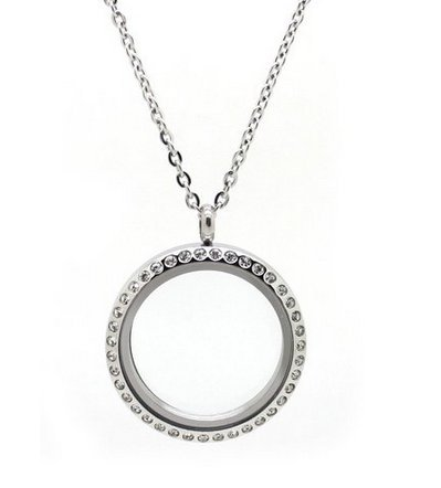 (Floating Glass Charm Locket Necklace Studded with CZ. Round Pendant with Snake Chain and Lobster Clasp. Floating Charms Allow You to Customize and Create the Perfect Personalized Gift for Girlfriends, Mothers, Wife, Valentines Day, Birthdays, Weddings or Any Occasion! High Quality with Best Glass Locket Value on Amazon!)