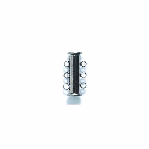 (Shipwreck Beads Electroplated Brass Slide Magnetic 3-Strand Clasps, 20 mm, Gunmetal, Set of 3)