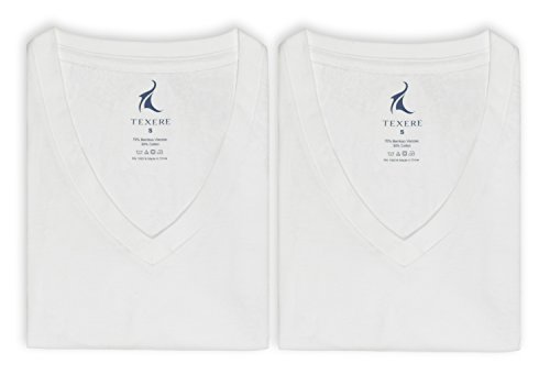 Texere Men's V-Neck 2 Pack Undershirt (Meio, Natural White, XL) Valentines Gift