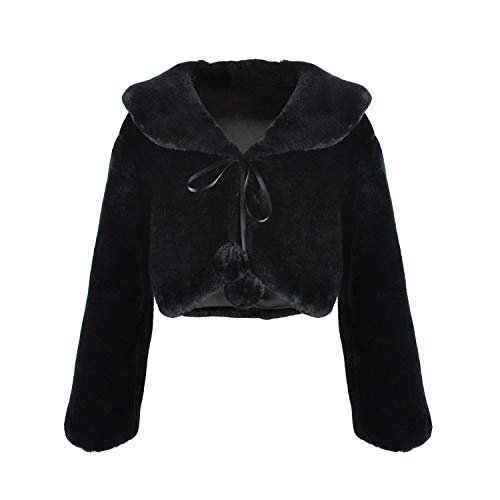 Abbyabbie.Li Flower Girl Dress Coat,Girl Cozy Faux Fur Bolero Shrug Accessories Princess Cape (L,Black) -