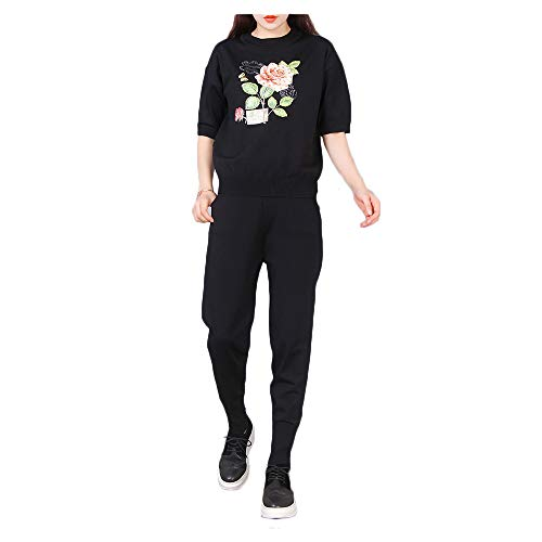 Heat Painting Rose + Hand Beaded Short-Sleeved Ice Silk Knit Suit Fashion Two-Piece (Color : Black, Size : Free Size) ()