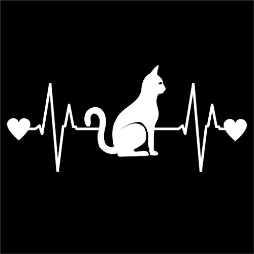 Love CAT Heartbeat Silhouette Stickers Symbol 6