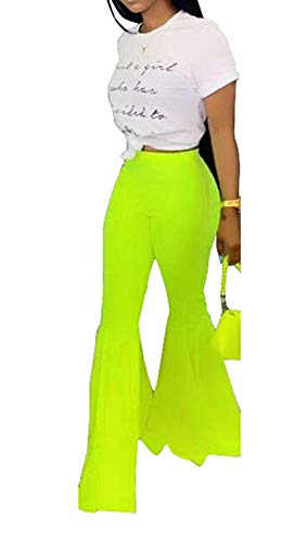(Women Casual High Waisted Flare Bell Bottom Pants Solid Ruffle Palazzo Wide Leg Elastic Waist Skinny Leggings Bodycon Pencil Long Trousers Workout Running Jogger Yoga Capri Pants Yellow, Medium)