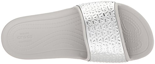 Graphic Crocs Women's White Silver Etched Pearl Sloane Slide AqpvSqEx
