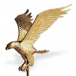 Gold Eagle Flagpole Ornament 12 in x 9-1/4 in aluminum (12 in.)