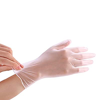 HonpraD 100PC Disposable Gloves Clear Vinyl Food Gloves Latex-Free Cleaning Safety Food Handling Glove: Clothing