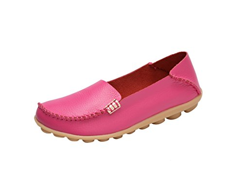 Verocara Women's Leather Flat Boat Shoes Casual Shoes Driving Loafers Rose red 5 B(M) US