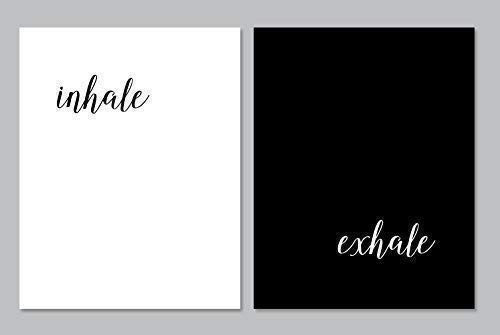 (Inhale Exhale - Set of Two 11x14 Unframed Art Prints, Minimalist Home Decor - Mindfulness gift for yoga and meditation lover or teacher, Perfect Housewarming gift to create a home spa retreat)