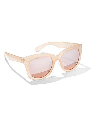 New York & Co. Women's Mirrored Cat-Eye Sunglasses 0 Rose Gold Metallic - Sunglasses Gold Rose Metallic