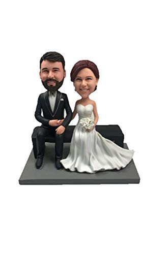 Custom personalize Handmade Dolls Gay Figure New Married Wedding Bobbleheads Fimo Polymer Clay cake topper Holliday Funny Gift ()