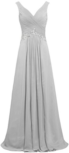 ANTS Women's Formal V Neck Sleeveless Long Evening Prom Dresses Gowns Size 14 US Silver