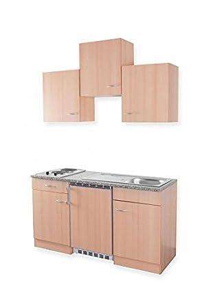 Mebasa mebakb1500bb miniküche singleküche 150 cm mit oberschränken in buche duokochplatte und unterbaukühlschrank