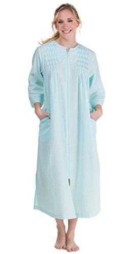 Turquoise Seersucker - Miss Elaine Women's Plus Size Seersucker Long Zipper Robe, Turquoise, 2X