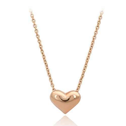 Simple Small Forever Love Heart Pendant Necklace for Women 18K White Gold Plate Silver (Rose gold) (Gold White Plate 18ct)