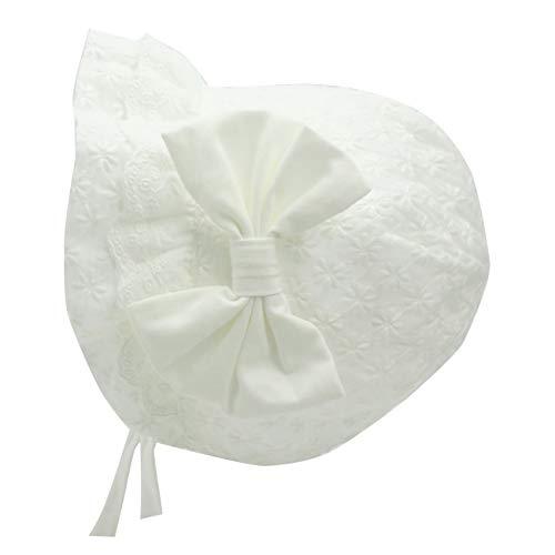 (Sun Bonnet for Baby Girls Toddler Sun Hat Baby Bonnets Infant Cotton Cap (White Sun Bonnet, 0-3 Months))