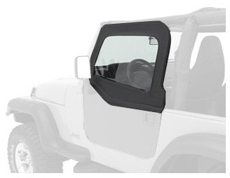 Jeep Wrangler Full Door Weatherstripping - Bestop 51795-15 Black Denim HighRock 4X4 Element Upper Door Set for 1980-1995 CJ-7 and Wrangler - Front