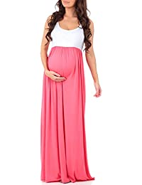 25fa90431309f Women's Sleeveless Ruched Color Block Maxi Maternity Dress - Made in USA