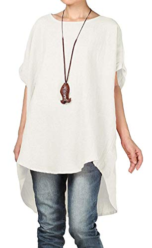 Mordenmiss Women's Summer Tee Shirt Oversized Top Hi-Low Tunic Style3 White M