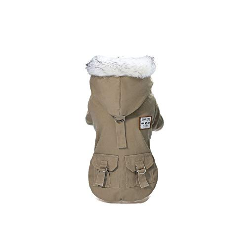 AKwell Pet Dog Hoodies, Thickened Dog Overall Fashion Handsome Military Style Autumn and Winter Pet Dog Cotton Coat for Small Dog & Medium Dog