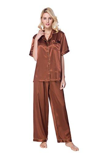 Sunrise Women's Short Sleeve Classtic Satin Pajama Set (X-Large, Brown) Brown Short Sleeve Pajamas