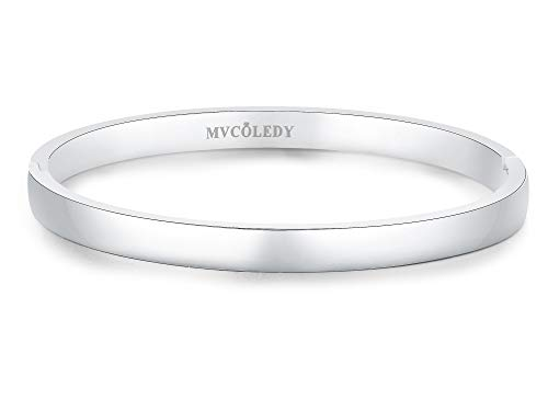 MVCOLEDY Jewelry 18 K Gold/Rose Gold/White Bangle Bracelet High Polished Bangle Shiny Minimalist Stainless Steel Bangle for Women Size 7