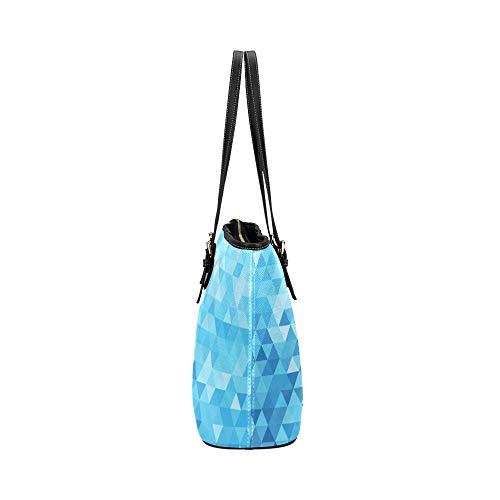 Kvinnor handväska abstrakt konst tredimensionell triangel läder handväskor väska orsaksala handväskor dragkedja axel organiserare för dam flickor kvinnor handväska axelrem