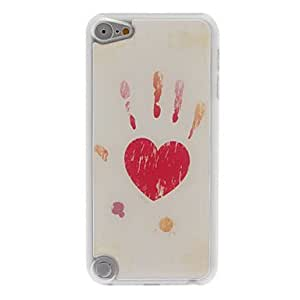 Funny Design Red Heart-Shape and Palm Pattern Epoxy Hard Case for iPod Touch 5