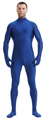 [Ensnovo Mens Mock Neck Full Body Unitard Spandex Zentai Suits Costumes Royal Blue, L] (Blue Spandex Suit)