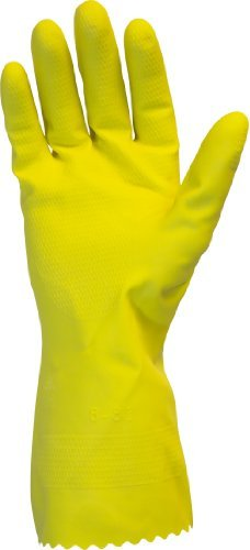 Yellow Flock Lined Gloves (Heavy Duty Rubber Gloves - 18 Mil Yellow Latex, Flock Lined, Household Cleaning, Dishwashing, Strong, Work, Medical, Food Safe, Wholesale, Medium, Pack of 12 pair by The Safety Zone)
