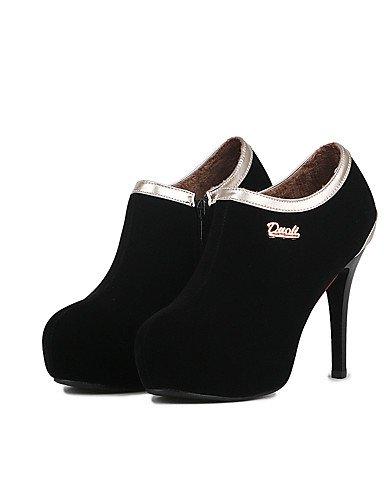 GGX/ Damen-High Heels-Hochzeit / Kleid-Kunstleder-Konischer Absatz-Komfort / Rundeschuh-Schwarz / Blau / Rot black-us6.5-7 / eu37 / uk4.5-5 / cn37