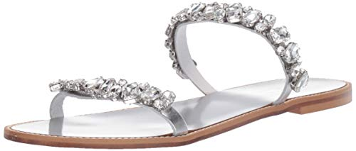 Badgley Mischka Women's Loveday Flat Sandal, Silver Leather, 7 M US