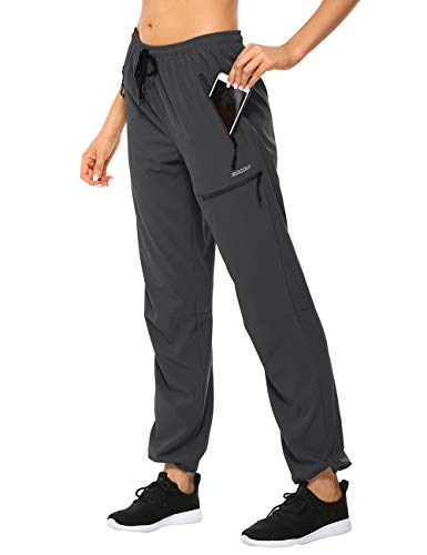 MOCOLY Women's Cargo Hiking Pants Elastic Waist Quick Dry Lightweight