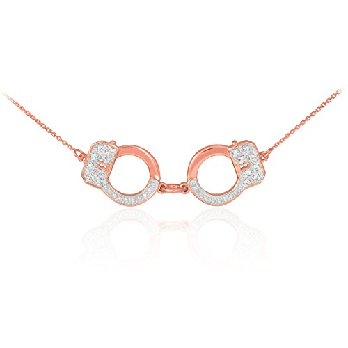 Handcuff Necklaces 14k Rose Gold with Diamond Accents (16 Inches)