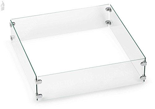 American Fireglass Fire Pit Glass Wind Guard (FG-SQP-18), Square, 23.5x23.5-Inch (Guard Square)