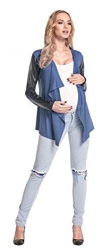 Happy Mama De Las Mujeres Maternidad Cascada Cardigan Bolero chaqueta Blazer Wetlook 098p azul/gris