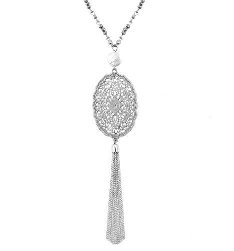 Tassel Strand Necklace (YEYA Bohemia Tassel Necklace Cute Filigree Oval Pendant Necklace Pearl Long Necklace Women Girls Statement Jewelry (Silver))