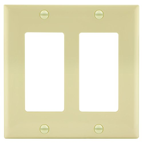Enerlites 8832-LA 2-Gang Decorator/GFCI Rocker Wall Plate, Standard Size, Unbreakable Polycarbonate, Light Almond (Ivory Switch Plate)