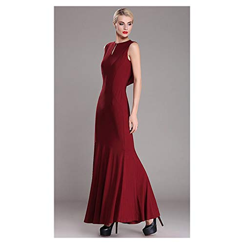L Longue Isbxn Red Color col Size Pure Jupe Dos Coffee Longue Rond Mince Femme Robe Color Ouvert xpZBwqf0p