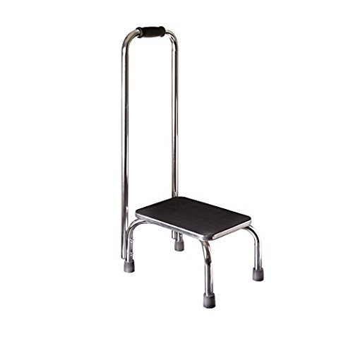 Vaunn Medical Foot Step Stool with Handle and Anti Skid Rubber Platform, Lightweight and Sturdy Chrome Stool for Children and Adult by Vaunn