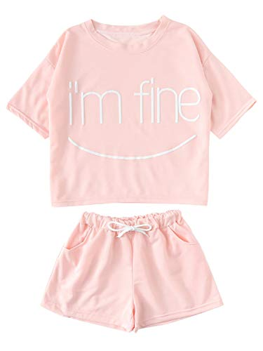 DIDK Women's Cute Tee and Shorts Pajama Set Pink L -