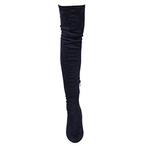 Beston FM29 Damen Stretchy Snug Fit Seitlicher Reißverschluss Oberschenkel Hohe Stiefel Halbe Größe Klein Navy Wildleder