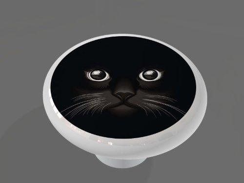 Black Cat Face High Gloss Ceramic Drawer Knob