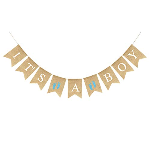 (Uniwish It's A BOY Banner Burlap Fabric, Rustic Hanging Bunting Christening Garland Baby Shower Party Decorations for Baby Boy with Blue Footprint )