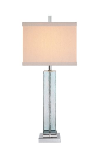 Catalina 19103-001 3-Way 34-Inch Square Blue Water Glass Table Lamp with Polished Nickel Finish and Square Linen Hardback Shade, Bulb Included - Robert Abbey Nickel Polished Floor Lamp