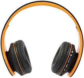 PowerLocus Wireless Bluetooth Over-Ear Stereo Foldable Headphones, Wired Headsets with Built-in Microphone for iPhone, Samsung, LG, iPad (Orange) 31AVZTCRmKL